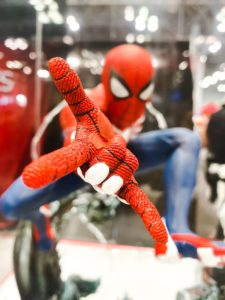 red and blue spider man plush toy
